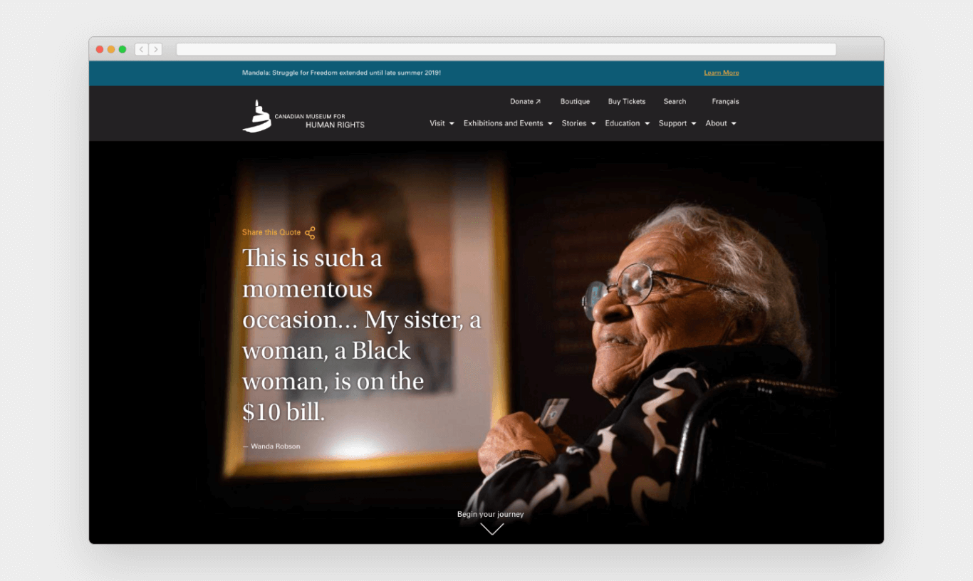 """Screenshot of a webpage with a teal blue bar on top announcing """"Mandela: Struggle for Freedom extended until late summer 2019."""" Below that are two rows of navigational items. The majority of the image is a photo of an older woman looking off towards the left and large text that reads, """"This is such a momentous occasion . . . My sister, a woman, a Black woman, is on the $10 bill."""""""