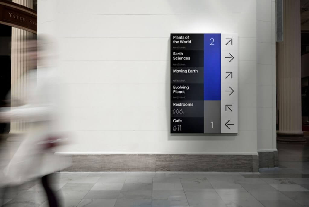 A large sign lists exhibits in white text on black on the left side, corresponding floor numbers in blue and gray in the middle, followed by black arrows on white indicating which way to go.