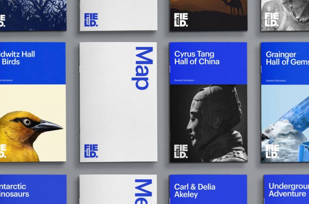 """Vertical booklets are neatly laid out in a perfect grid. They are labeled with the names of exhibit halls and exhibitions as well as """"Map"""" in large blue and white text."""