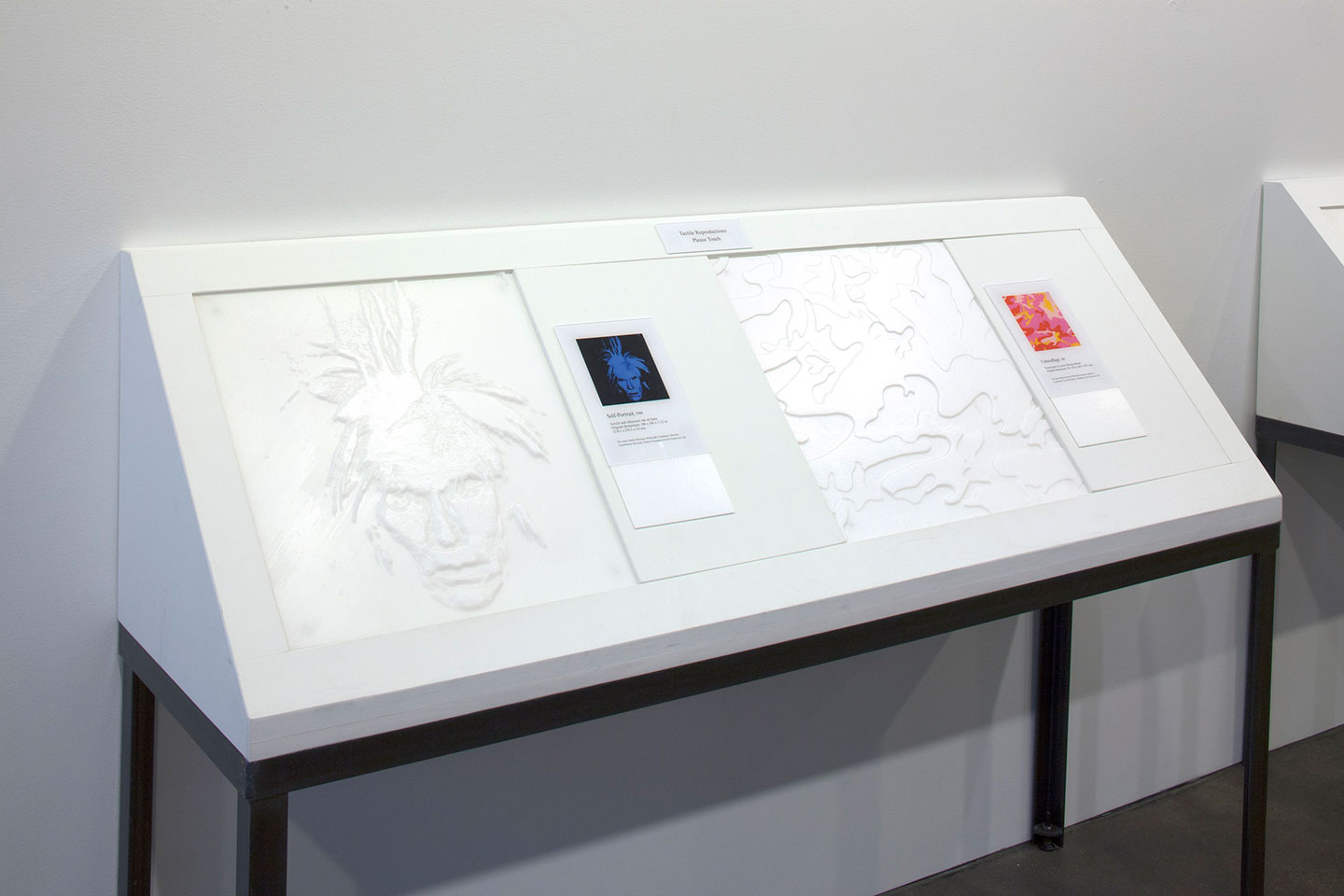 Two textured replicas of pictured artworks are presented on a table at waist height, angled upward at a 45 degree angle from the wall.