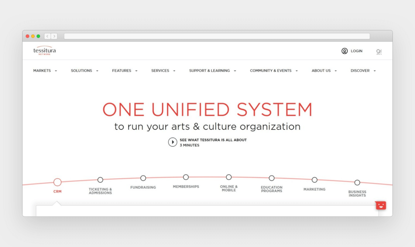 """A website screenshot features """"One Unified System"""" in large, red font in the middle. Various navigational items are listed along the top of the page; provided services are listed at the bottom of the page along a bulleted, linear red arch."""