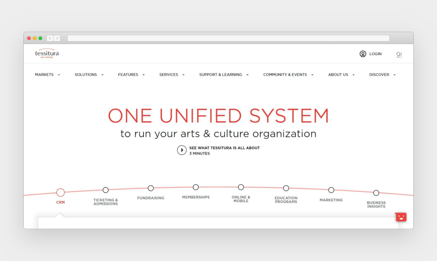 "A website screenshot features ""One Unified System"" in large, red font in the middle. Various navigational items are listed along the top of the page; provided services are listed at the bottom of the page along a bulleted, linear red arch."