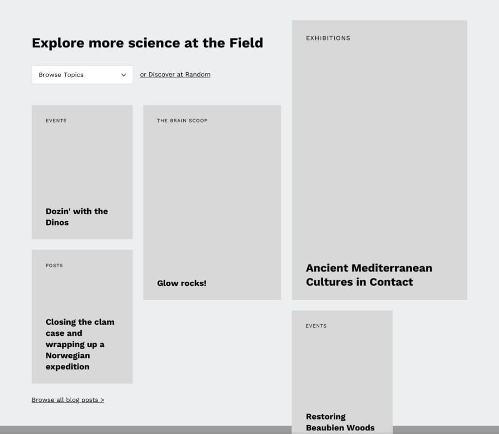 "Light gray boxes are labeled with different categories and titles below a header that reads ""Explore more science at the Field."""