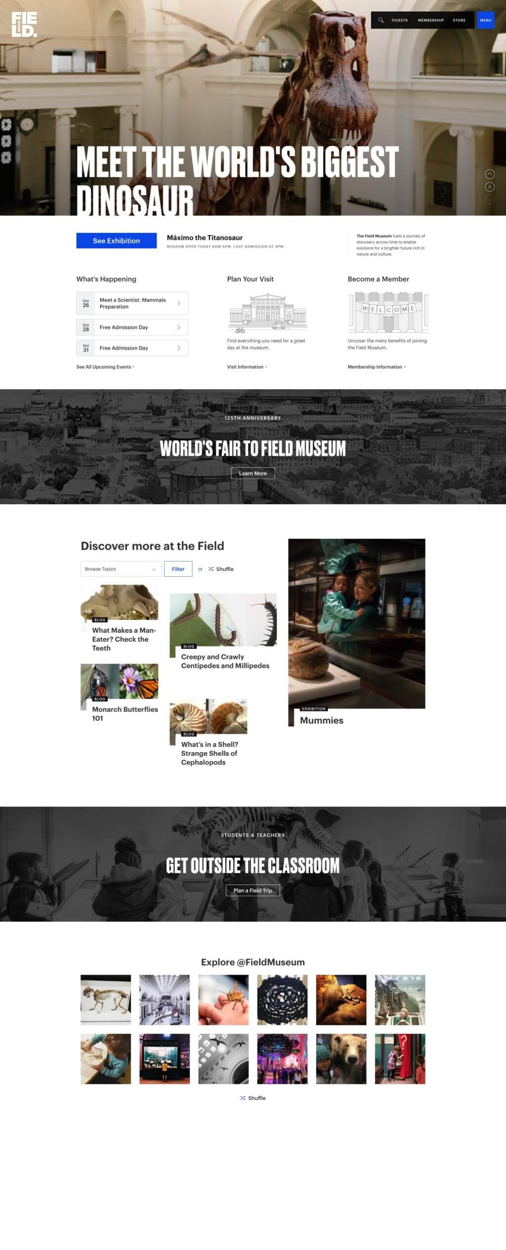 "A screenshot of the Field Museum homepage features a header that reads, ""Meet the world's largest dinosaurs,"" followed by 5 distinct sections."