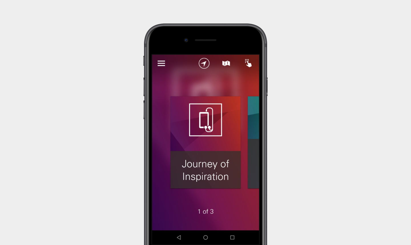 "A text box with the words, ""Journey of Inspiration,"" placed below an icon of a mobile phone and headphones, is displayed on a mobile phone."