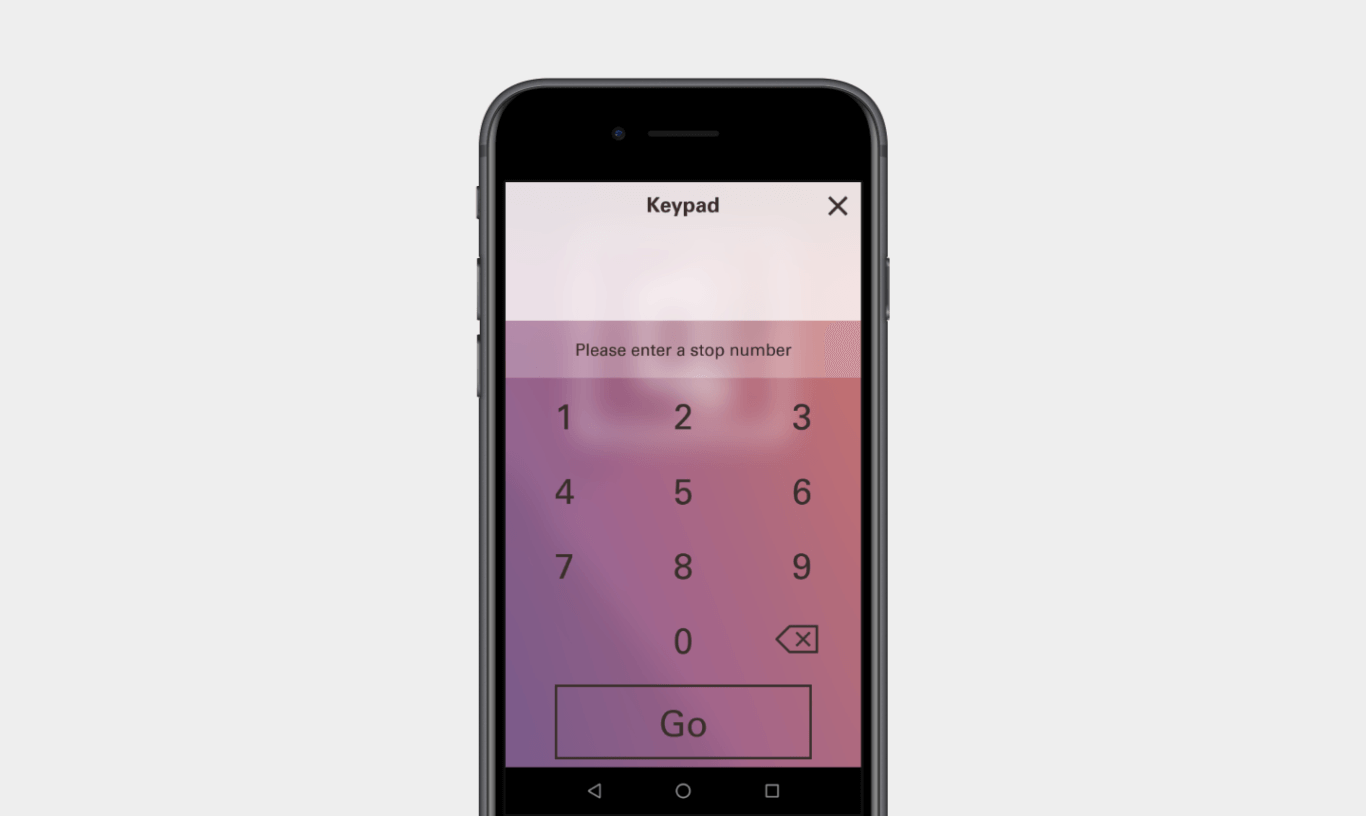 """A simple keypad with a text box and the text, """"Enter a Exhibit number,"""" is displayed on a black mobile phone."""